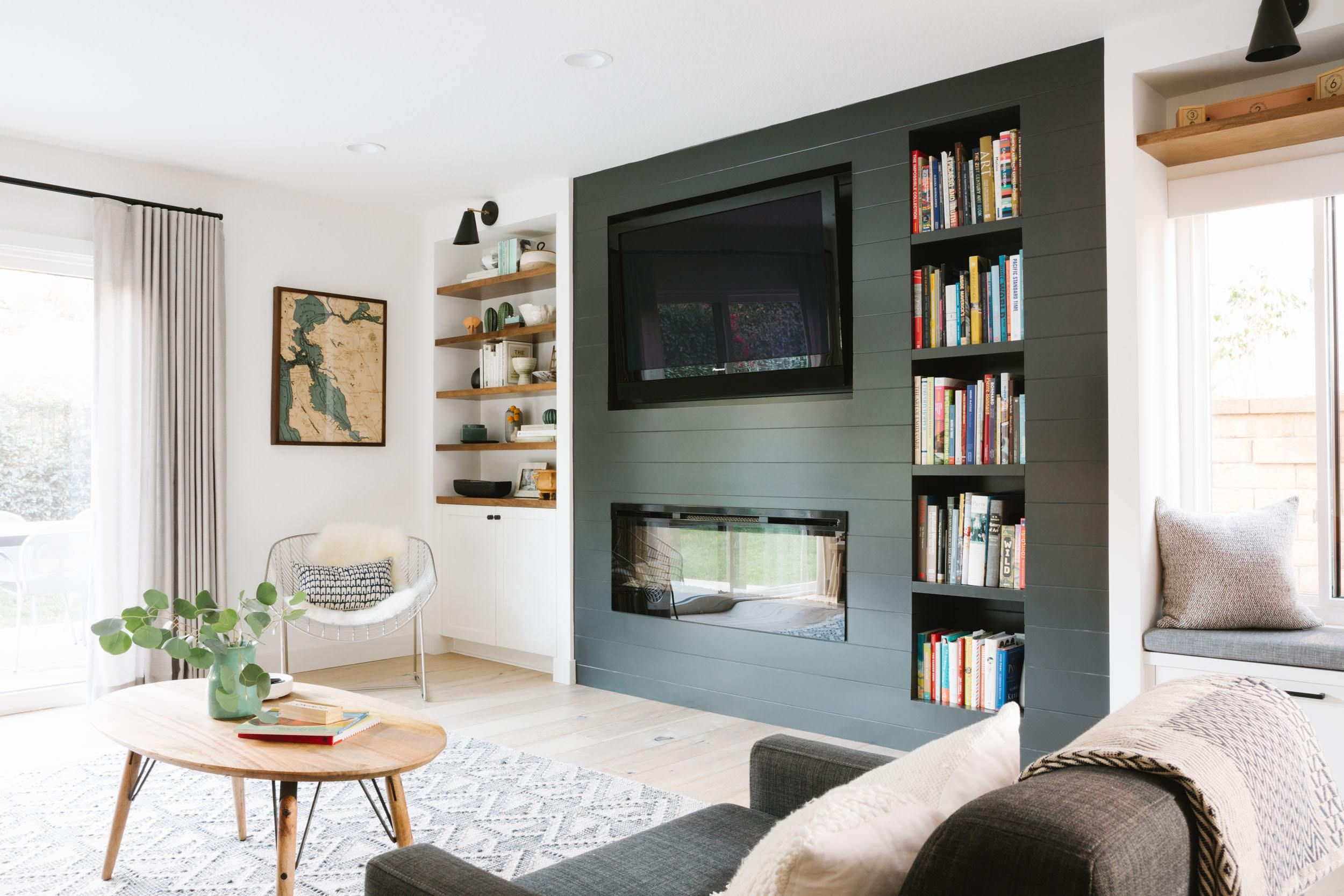 House Tour A Mid Century Modern Inspired Home Get The Look Emily Henderson Living Room With Fireplace Contemporary Home Decor Home #picture #of #living #room #with #fireplace