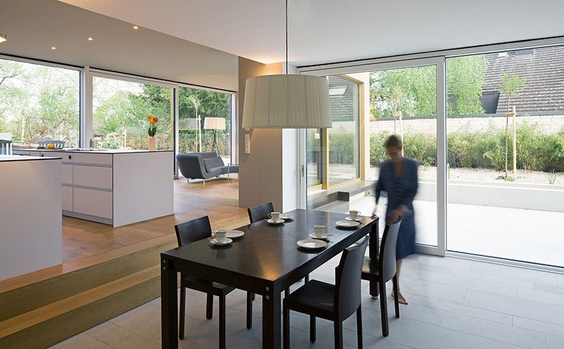 Übergang Fliesen Betonoptik auf Holzboden Eiche im Wohn - wohn essbereich ikea