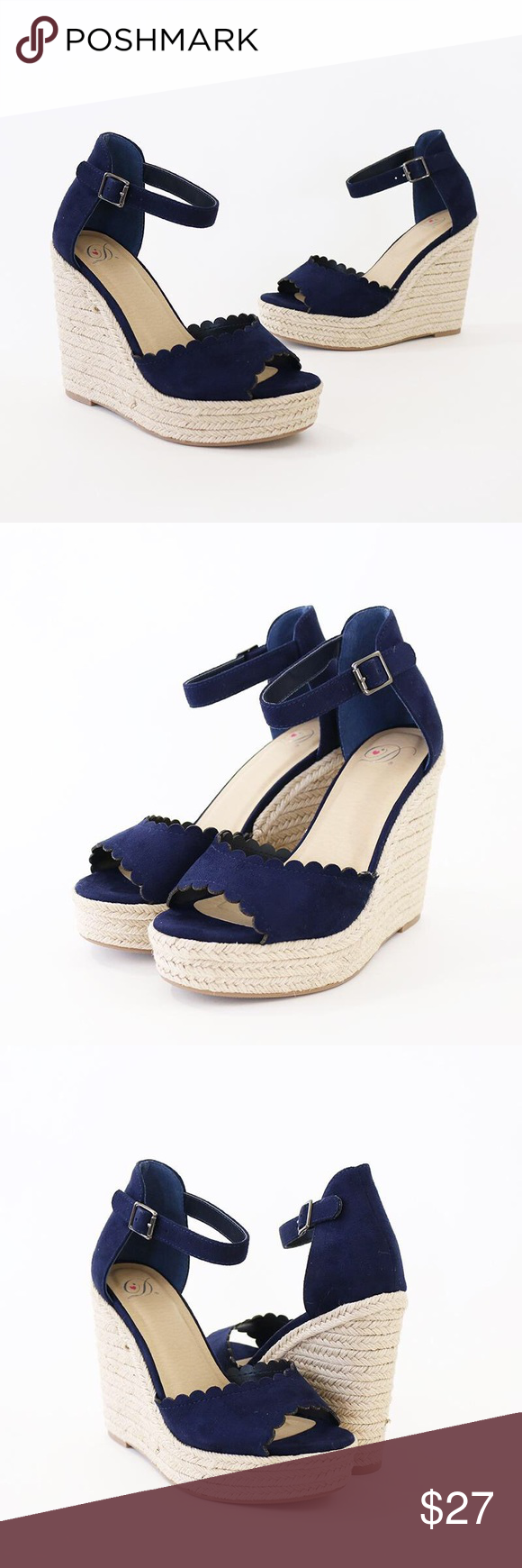 84eea1ee5f0 herald navy espadrille wedge sandal Scalloped Topline Ankle Strap with  Pewter Buckle Wedge Espadrille Sandal.