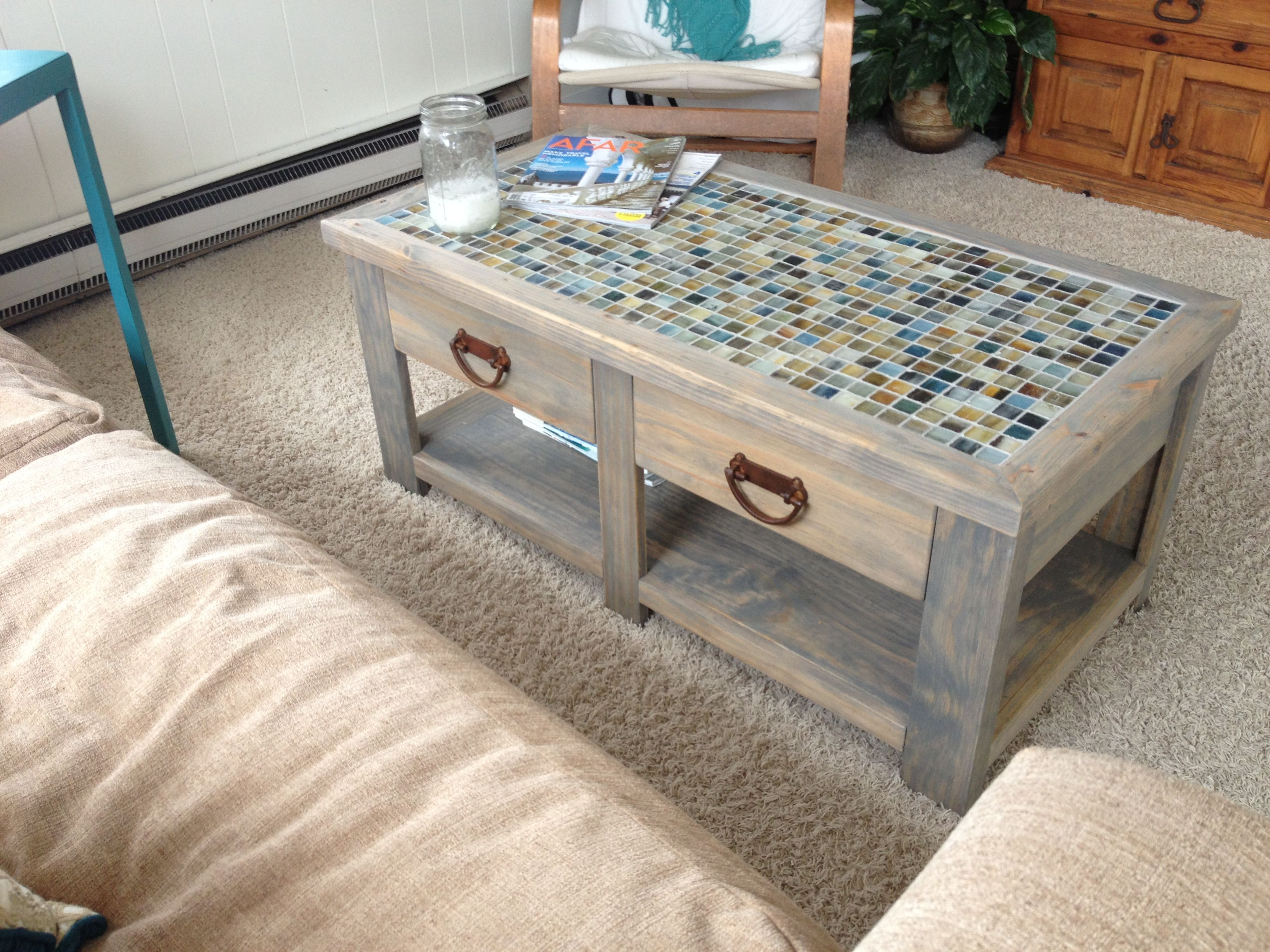 tile coffee table DIY Living Room Tutorials Pinterest
