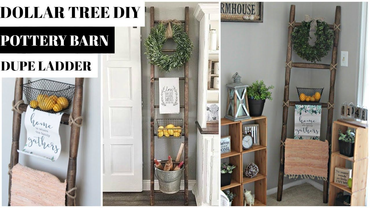 DOLLAR TREE DECORATIVE LADDER DIY POTTERY BARN DUPE