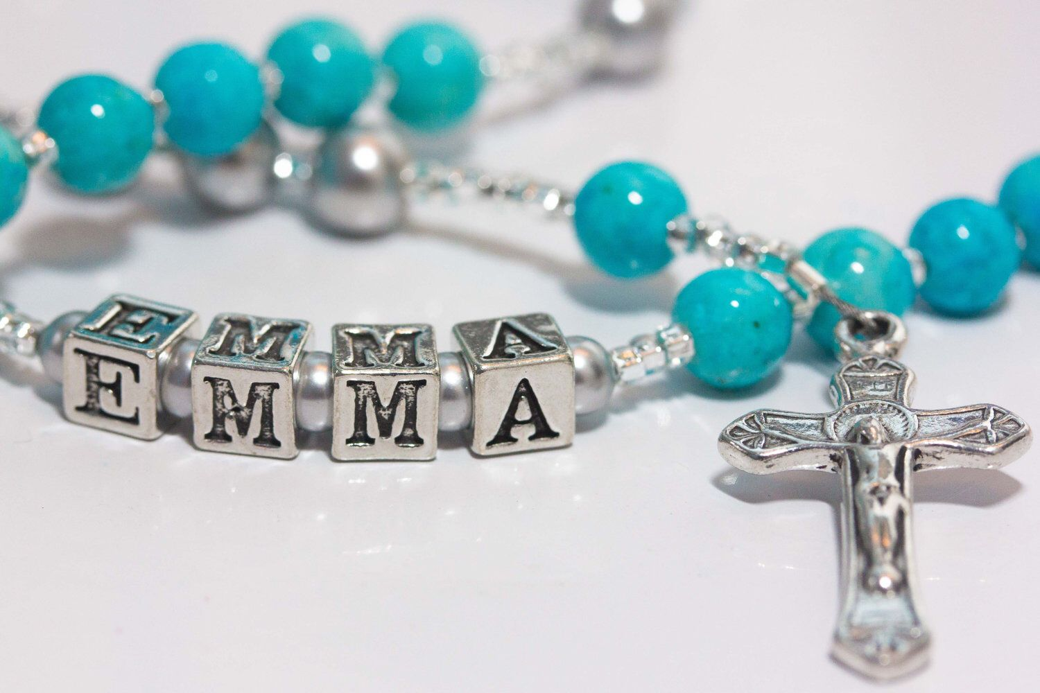 Personalized rosary for baptism or babyus first in tiffany blue with