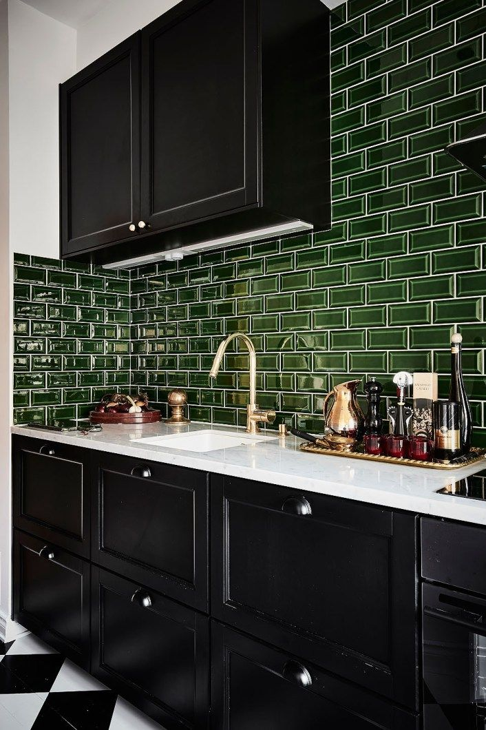 Do A Deep Dark And Delicious Kitchen Black Glossy Cabinets With Green Tile Backsplash White Counter