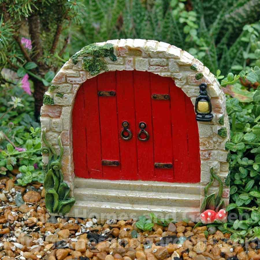 Red Cobblestone Fairy Door is part of Home garden Fairy Doors - The fairies in your garden will be delighted with this red cobblestone fairy door adorned with toadstools and vines