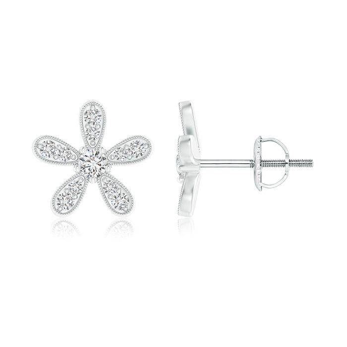 Angara Gypsy-Set Diamond Daisy Flower Stud Earrings in Two Tone FFyy5V