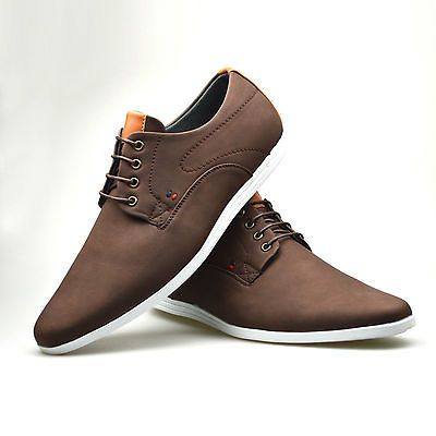 details about mens casual skate faux leather trainers