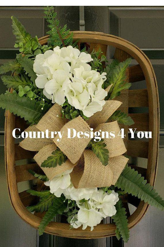 Photo of Tobacco Basket, Tobacco Basket Arrangement, Tobacco Basket for Front Door, Wreath Summertime, Tobacco Basket Wreath, Wreath Summer w/Burlap