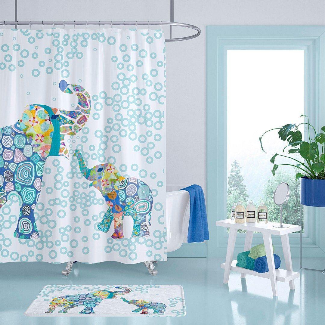 Elephant Shower Curtain Kids Shower Curtain Kids Bathroom Decor Extra Long Shower Curtains Boys In 2020 Kid Bathroom Decor Long Shower Curtains Boys Shower Curtain