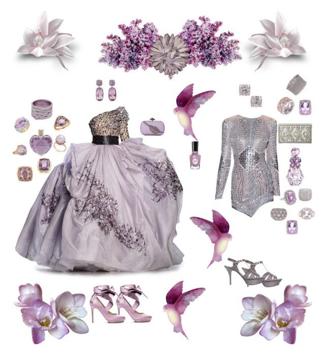 """""""Lady in Lilac"""" by karlielove2party ❤ liked on Polyvore featuring Murad, Zuhair Murad, Yves Saint Laurent, Liam Fahy, Vera Wang, David Yurman, Sally Hansen, David Webb, Belk & Co. and Carelle"""