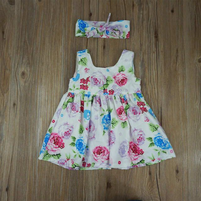Toddler Kids Baby Girl Floral tank dress match headband Summer button sleeveless sundress infant girl Clothes _ {categoryName} - AliExpress Mobile Version -