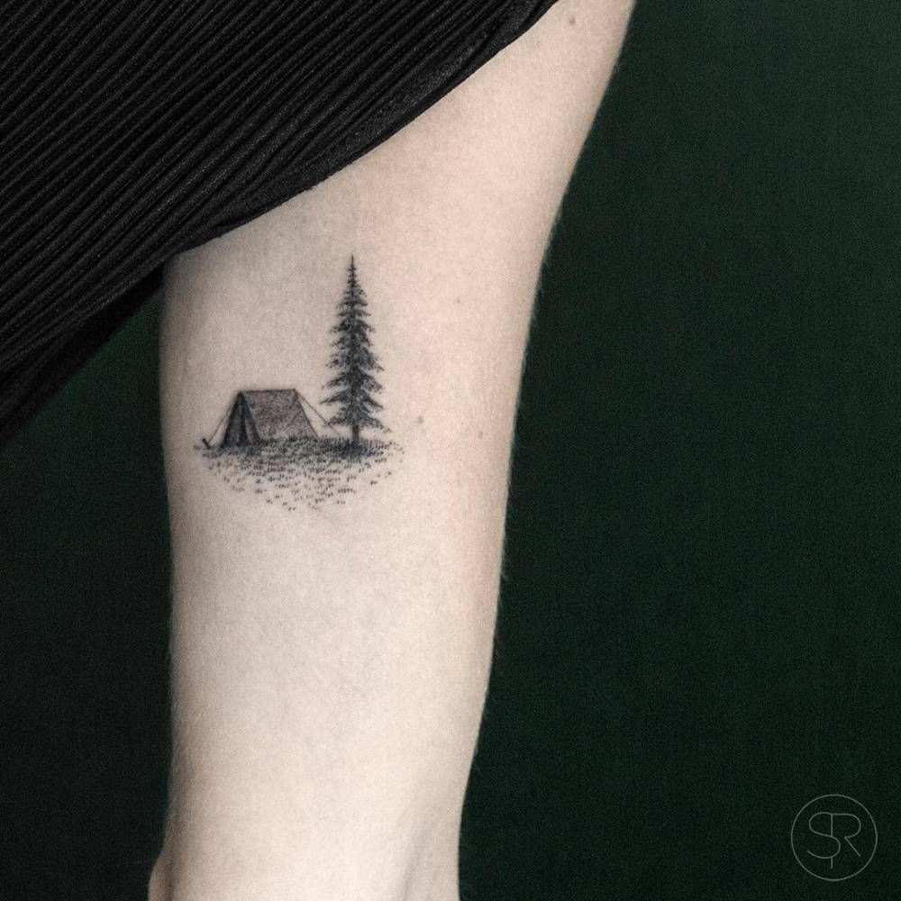 Little Campsite Tattoo On The Left Inner Arm Tatuajes Naturaleza