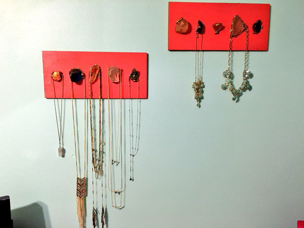 Made a simple necklace holder using wood, gorilla glue, and sea glass!