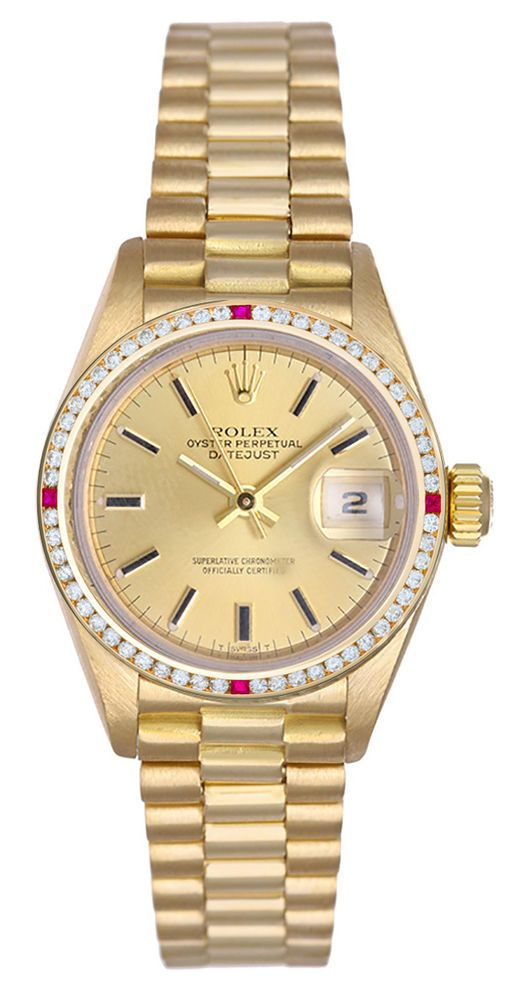 Rolex Ladies President Champagne Dial / Channel Set Red Stone & Diamonds ! #Rolex #Datejust