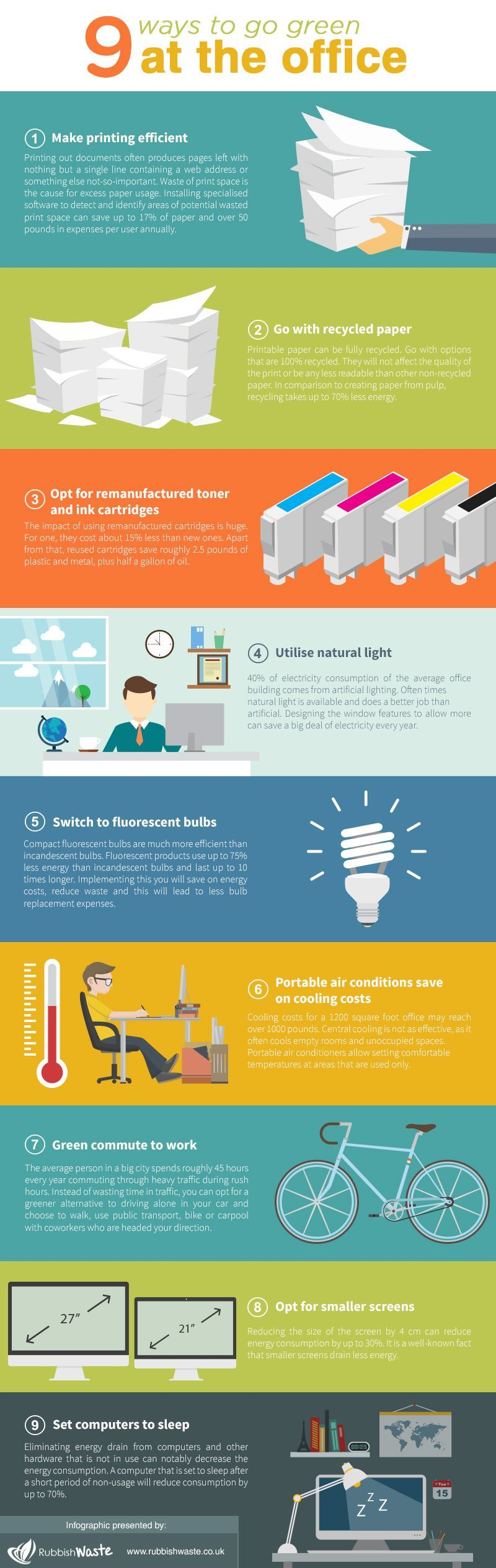 9 Ways to Go Green at the Office #Infographic