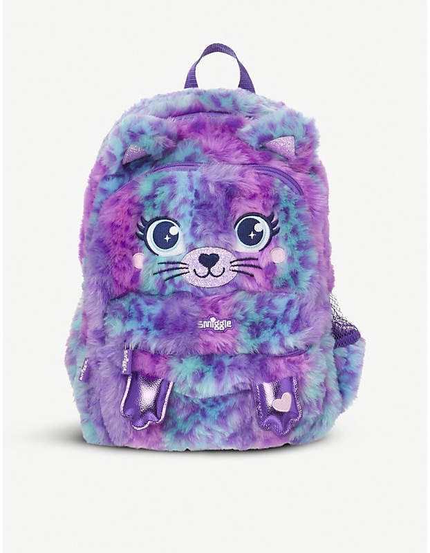 NEW Girls SMIGGLE Fluffy Meow Junior Cat Bag Purple backpack plus double pencil