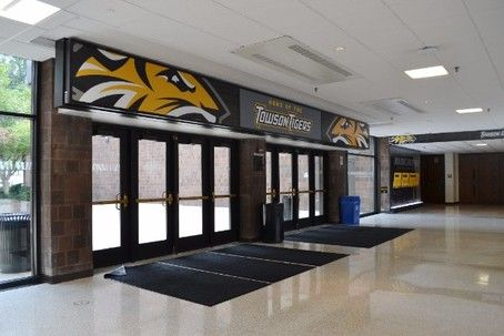Check Out September S Project Of The Month Towson University The New Athletic Center Displays Include Video Mon Hall Of Fame Towson University Private School