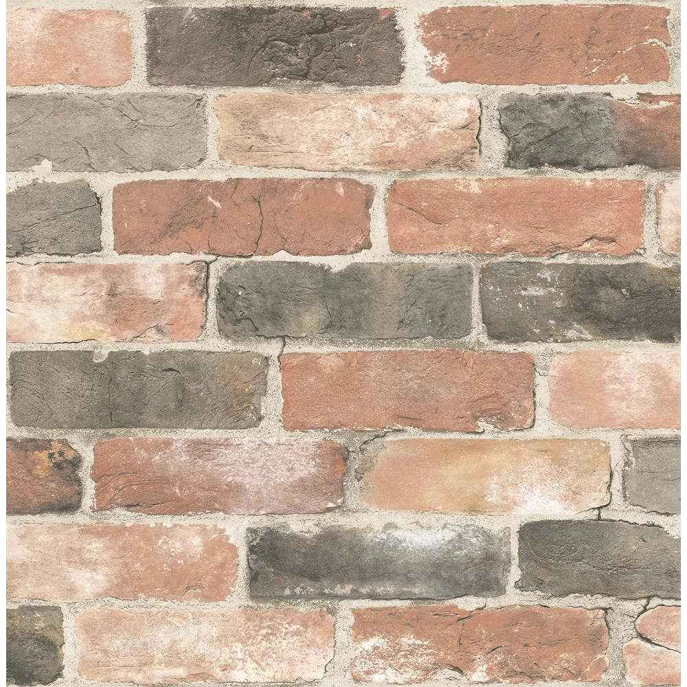 A Street Rustin Red Reclaimed Bricks Paper Strippable Roll Covers 56 4 Sq Ft 2922 22320 The Home Depot Rustic Wallpaper Brick Wallpaper Faux Brick