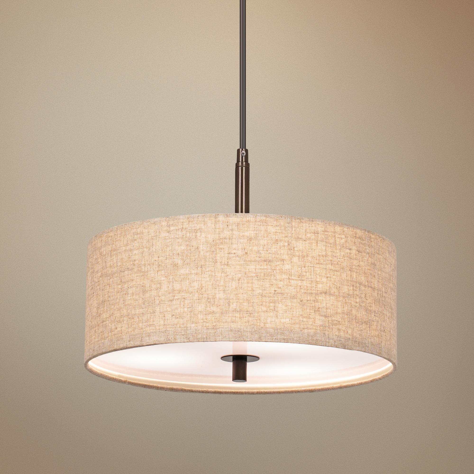 Possini Euro Design Cream Drum 16 W Pendant Light V2821 Lamps Plus Pendant Light Possini Euro Design Bronze Pendant Light