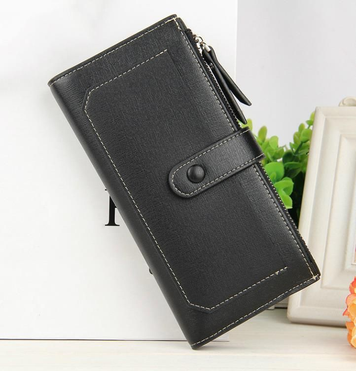 Multicolor Lady s Long Wallet Pure Color Pu Purse Zip Fastener Cell Phone  Bag Bill Clip Haulage Motor Clutch Bag 646aa8005406b