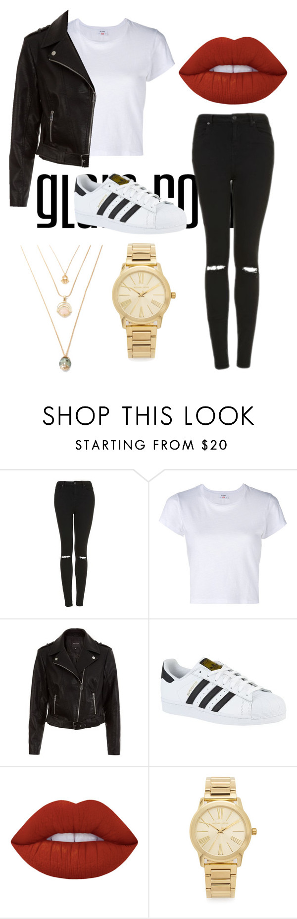 """Sin título #3"" by sarai-almaguer on Polyvore featuring moda, Topshop, RE/DONE, New Look, adidas, Lime Crime y Michael Kors"