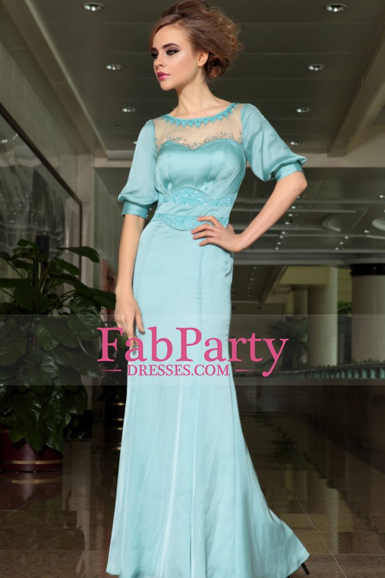 Prom dress half sleeves scoop neckline floor length prom dress