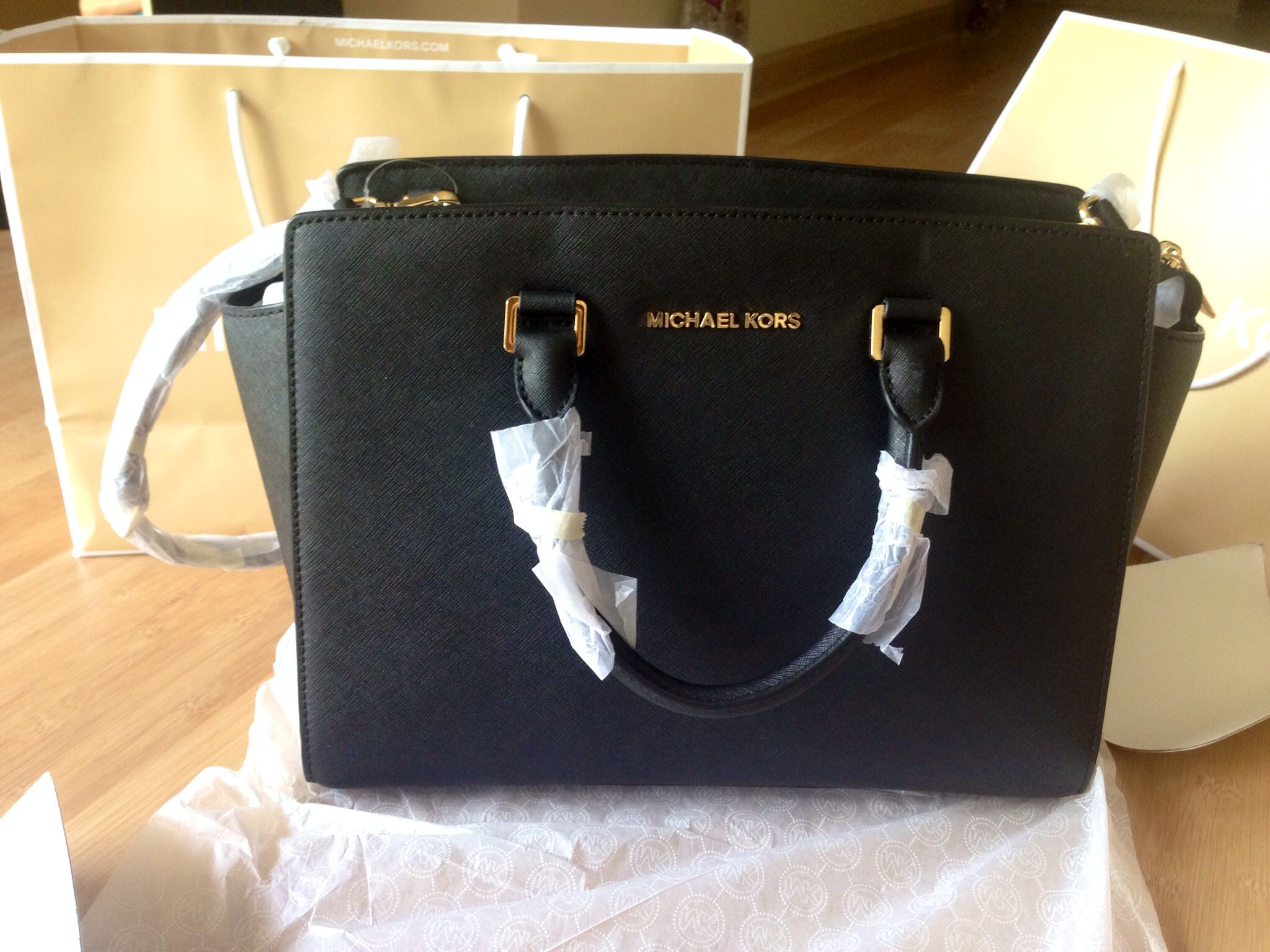 Michael Kors Selma Black And Gold Leather Satchel Look At This On Ebay