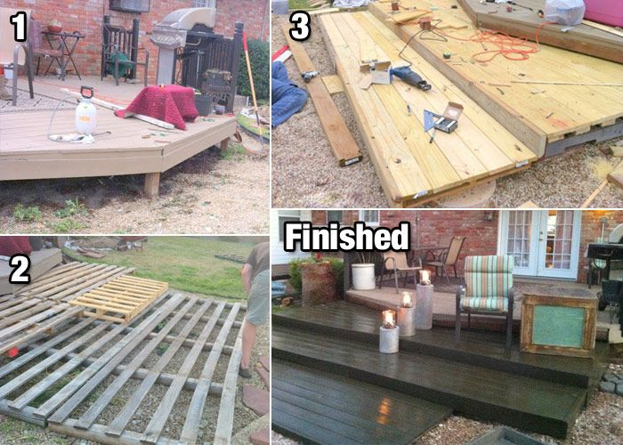 Build a diy deck with wood pallets for cheap wood for Cheap decking material