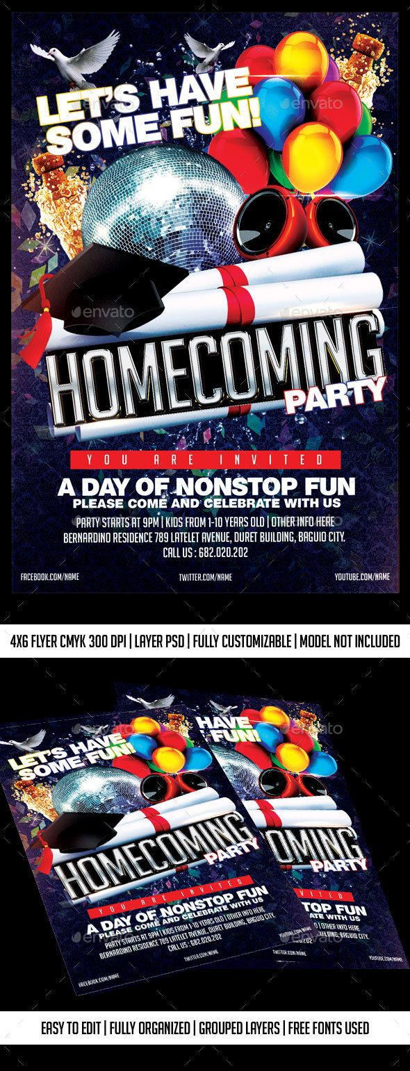 Homecoming Party Fonts Logos Icons Pinterest Homecoming Flyer