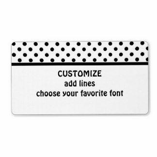 Polka dot label in black and white