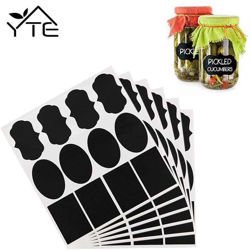 36 stks Waterdichte Mason Jar Fles Stickers Etiketten Home Keuken Potten Stickers Krijtbord Lables Tags Kan Worden Hergebruikt 3 Stijl