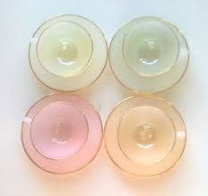 4Piece Glass Teacup set Pastel French Chic by ChocolateBoxCottageSets Pastel,