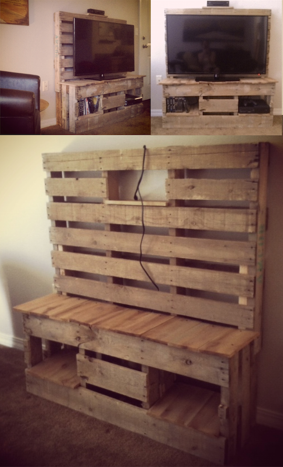 un meuble tv en palettes de r cup ration id es pour la maison muebles muebles r sticos et. Black Bedroom Furniture Sets. Home Design Ideas