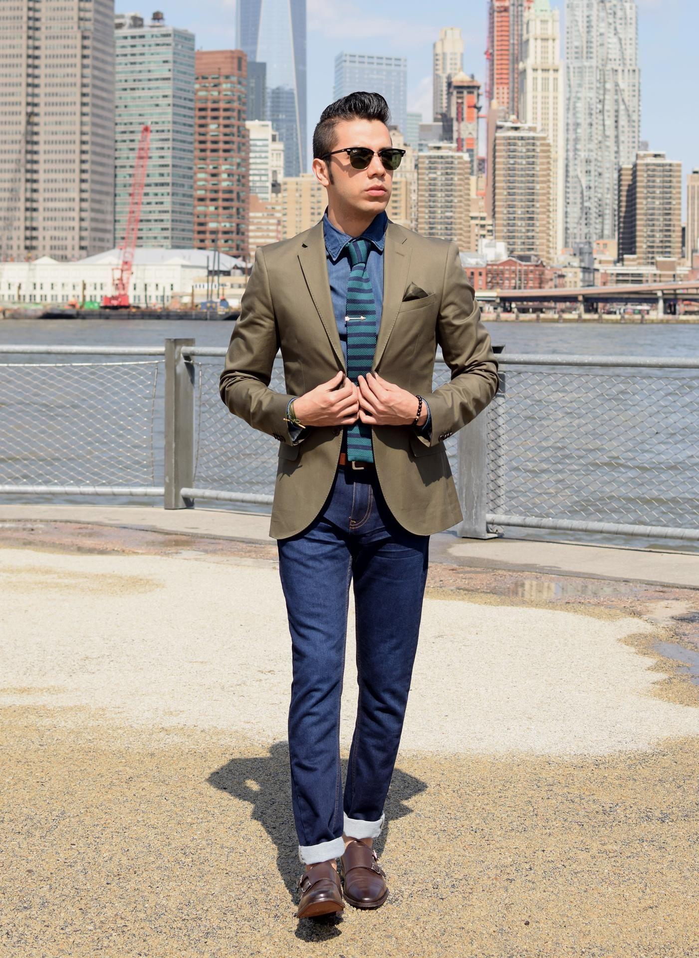 Men's Olive Blazer, Navy Denim Shirt, Navy Skinny Jeans