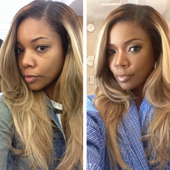 42 year old gabrielle union took a no makeup selfie because god is loving this hair color gabrielle union with blonde hair pmusecretfo Choice Image