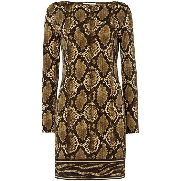 Michael Kors Long sleeve print boatneck dress (835 SAR) ❤ liked on Polyvore featuring dresses, olive, women, print dress, olive dress, boat neck dress, brown dress and pattern dress
