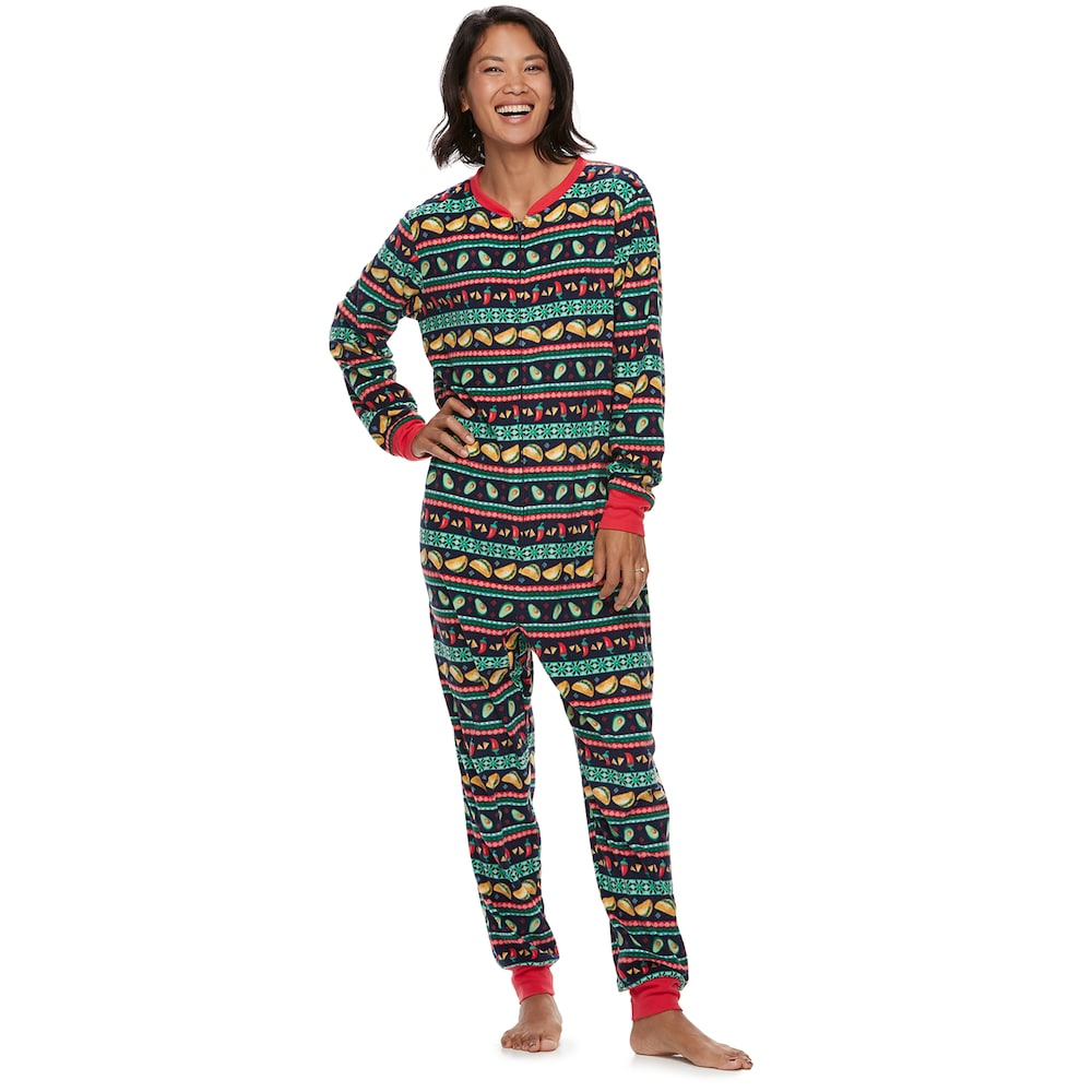 d1c63c04e3 Women s Jammies For Your Families Holiday Taco Party Fairisle Microfleece  One-Piece Pajamas