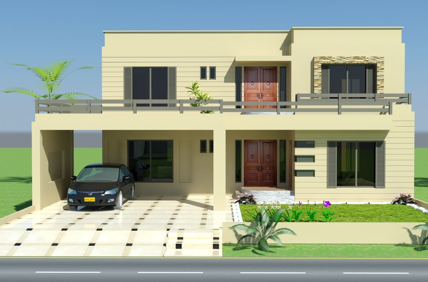 Exterior house design front elevation mi futura casa for House front window design