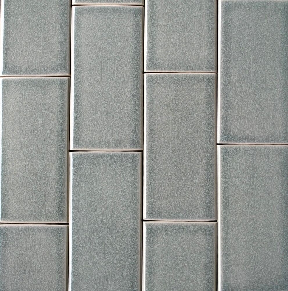 3x6 Mist Green Handmade Glossy Finish Crackled Ceramic Tile Wall Backsplash Bath Ebay Ceramic Tiles Wall Tiles Vintage Wall Tiles