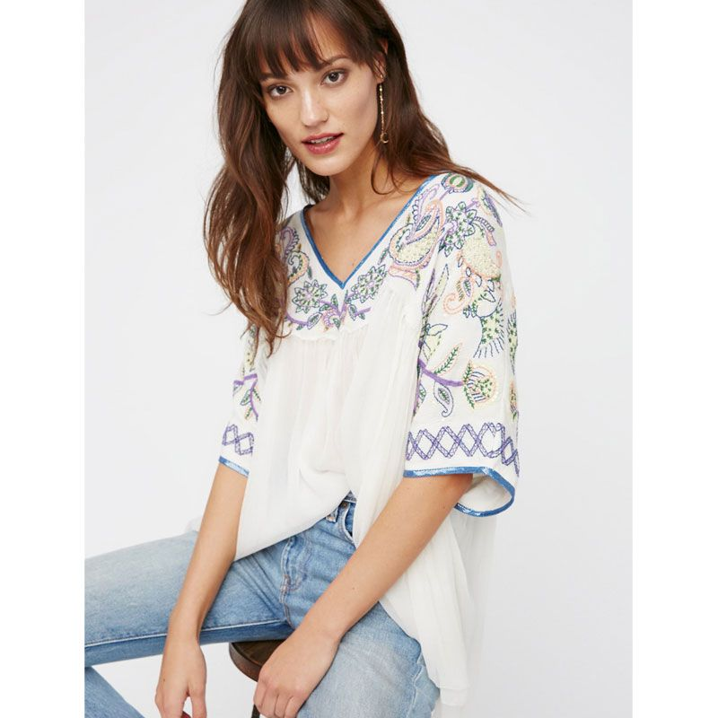 4b917ac7843d29 Click to Buy << Sunset Lovers Beaded Top Boho Chic Embroidery Tops Solid  Loose V Neck Half Sleeve Ethnic Gypsy Blouse Female Casual Shirts Top  #Affiliate