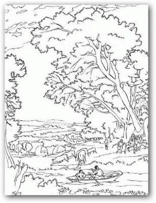 Precioso paisaje para pintar e imprimir | Buku mewarnai ...