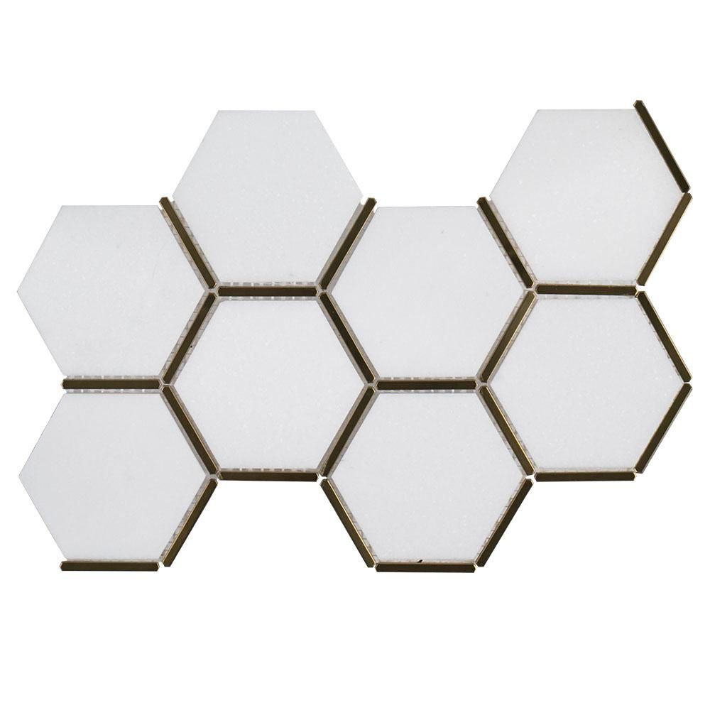 Jeff Lewis Laurel Brass 8 625 In X 15 125 In X 9 Mm Stone And Metal Mosaic Tile 96791 The Home Depot Metal Mosaic Tiles Mosaic Floor Tile Mosaic Tiles