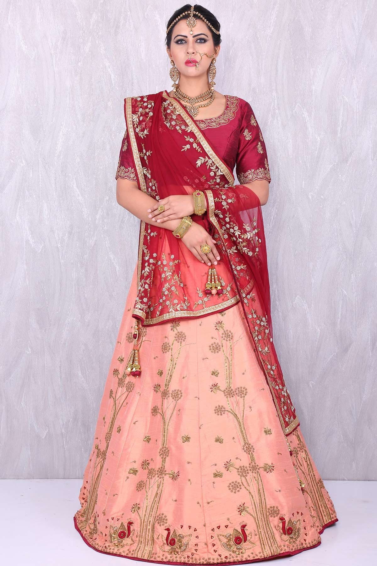 a9745ca5d1 Samyakk Maroon & dusty orange beauteous raw silk lehenga choli #Lehenga  #Maroon&Peach #Bridal #Wedding #RawSilk