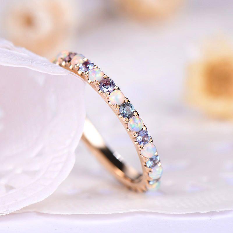 Custom make opal wedding band to HALF eternity yellow gold with