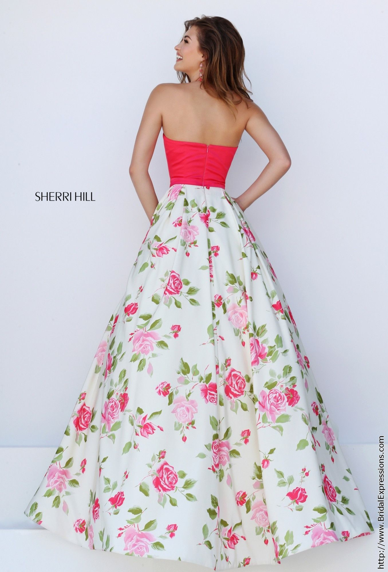 Sherri Hill 50231 Coral and Ivory Floral Print Halter Prom Dress
