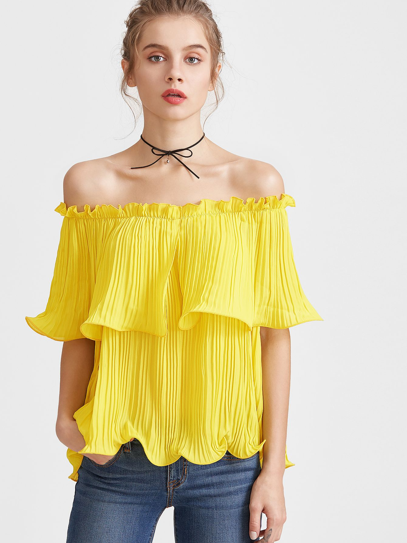81fefa19fe9fe Yellow Frilled Pleated Off The Shoulder Top -SheIn(Sheinside ...