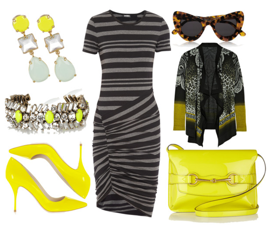 black & charcoal with neon yellow accessories