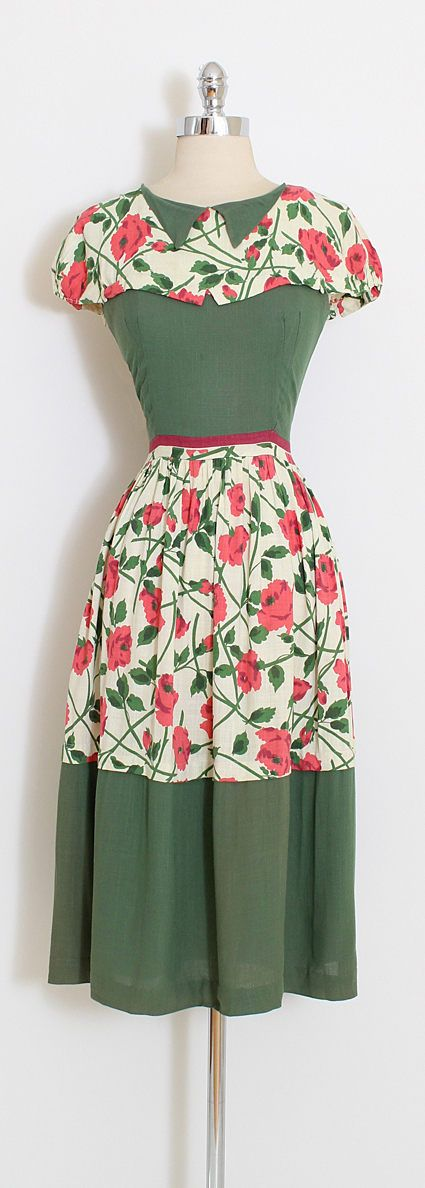 ➳ vintage 1940s dress * beautiful falling rose print * green and ivory woven cotton linen * button back closure * by Doris Dodson condition | excellent fits like xs/s length 43 bodice length 16 bust 36 waist 24-26 ➳ shop http://www.etsy.com/shop/millstreetvintage?ref=si_shop ➳ shop policies http://www.etsy.com/shop/millstreetvintage/policy twitter | MillStVintage facebook | millstreetvintage instagram | millstreetvintage 5911&#x2...