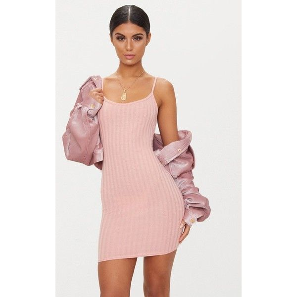 Pink Rib Knit Strappy Dress ($14) ❤ liked on Polyvore featuring ...