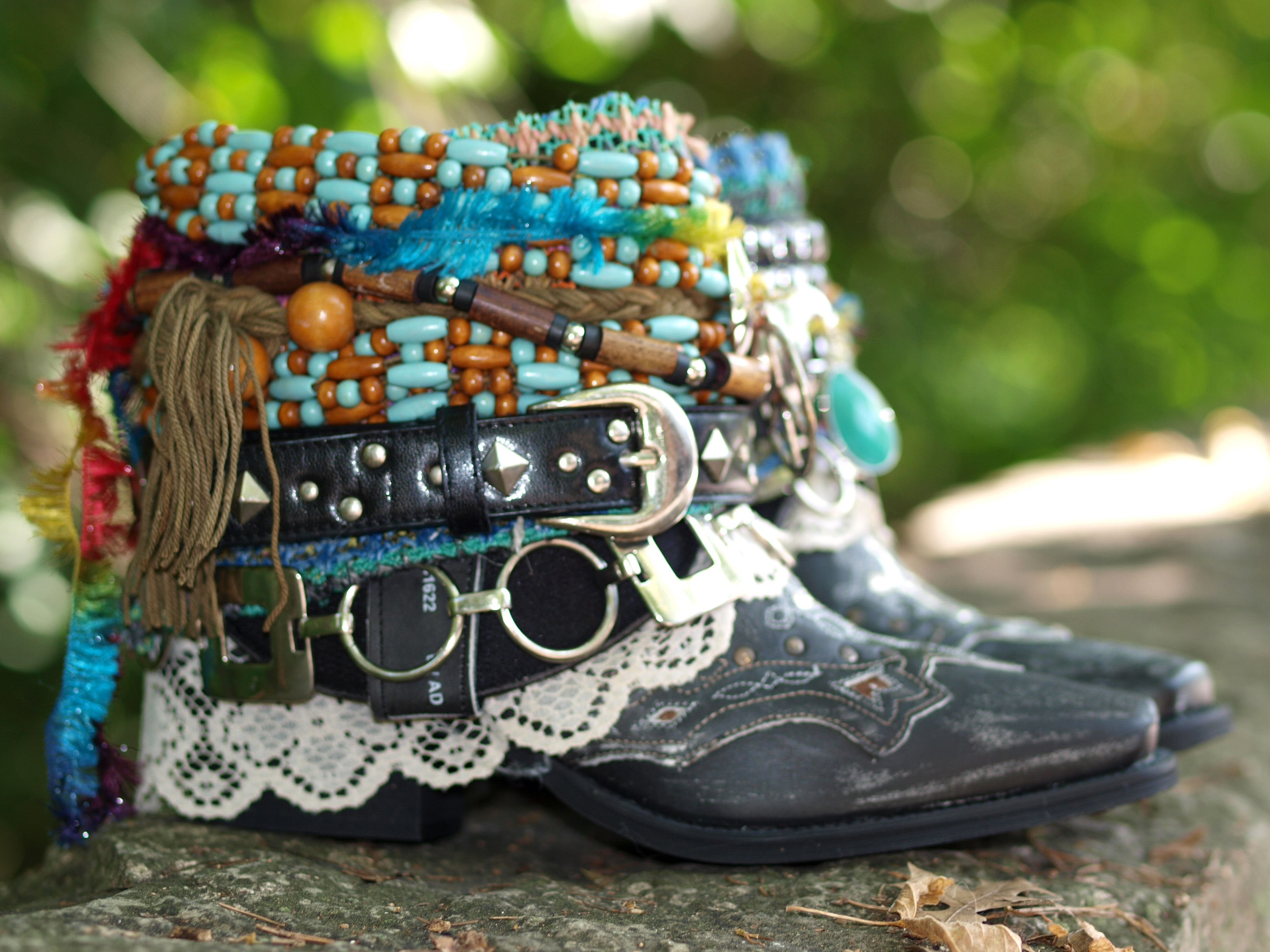 tribal upcycled boho boots from TheLookFactory on Etsy