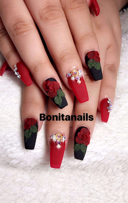 Pin By Serina On Bonitanails Mexican Nails Quinceanera Nails Rose Nail Art